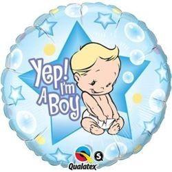 """Balon foliowy 18"""", Yep! I'm a Boy"""