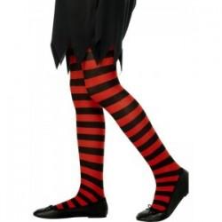 Rajstopy dziecięce w paski czarno-czerwone (6-12lat)