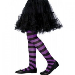 Rajstopy dziecięce w paski czarno-fioletowe (6-12 lat)