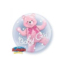 """Balon foliowy 24"""" Miś w balonie Baby Girl 3D"""