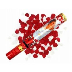 Konfetti strzelające, białe serca i czerwone płatki róż