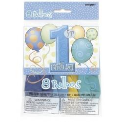 Balony lateksowe ROCZEK niebieskie, 8szt