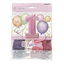 Balony lateksowe ROCZEK różowe, 8szt