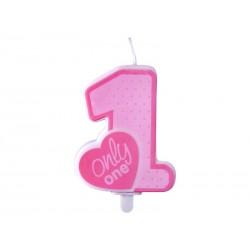 Świeczka urodzinowa Only One j.różowy, 1szt