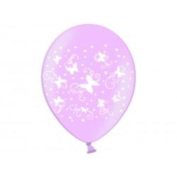 "Balon 14"" Motylki, Metalik Pink, 1szt"