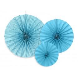 Rozety dekoracyjne, 3szt niebieskie