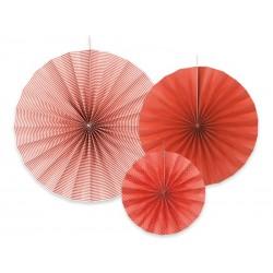 Rozety dekoracyjne, 3szt czerwone
