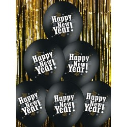 "Balony 14"" Happy New Year, Metalik Black, 50szt"