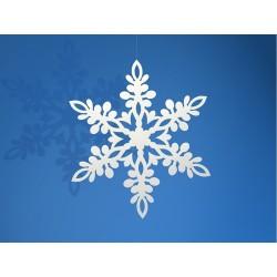 Dekoracje Śnieżynka, biały 9cm