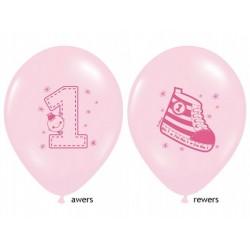 balon na roczek trampek różowy