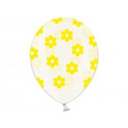 """Balon Kwiatki Crystal żółty 14"""", 1szt"""