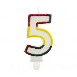 """Świeczka cyfra """"5"""" z brokatem"""