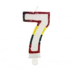 """Świeczka cyfra """"7"""" z brokatem"""