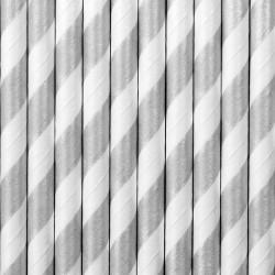 Słomki papierowe, srebrne paski 10szt