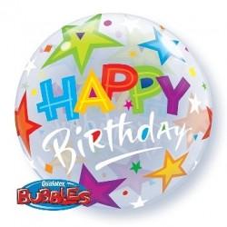 """Balon foliowy 22"""" Happy Birthday, z gwiazdami"""