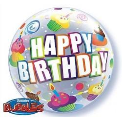 """Balon Bubbles 22"""" Happy Birthday, z mufinkami"""