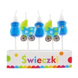 Świeczki Pikery Blue Baby, 5szt