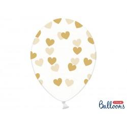 """Balon gumowy 14"""", Serduszka, Crystal Clear, 1szt"""