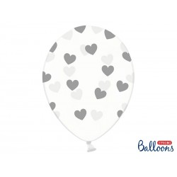 "Balon gumowy 14"", Crystal Clear i srebrne Serduszka, 1szt"