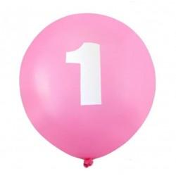 """Balon gumowy 12"""" z """"1"""" różowy, 1szt."""
