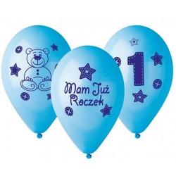 """Balony gumowe 12"""" Mam już roczek, niebieskie 5szt"""