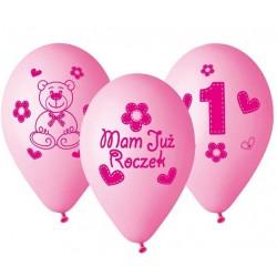 """Balony gumowe 12"""" Mam już roczek, różowe 5szt"""