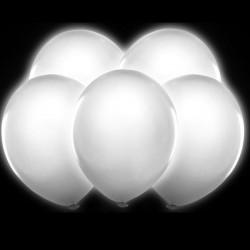 Balony świecące białe, 5 szt.