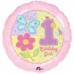 Balon foliowy 1 Urodziny Dziewczynki